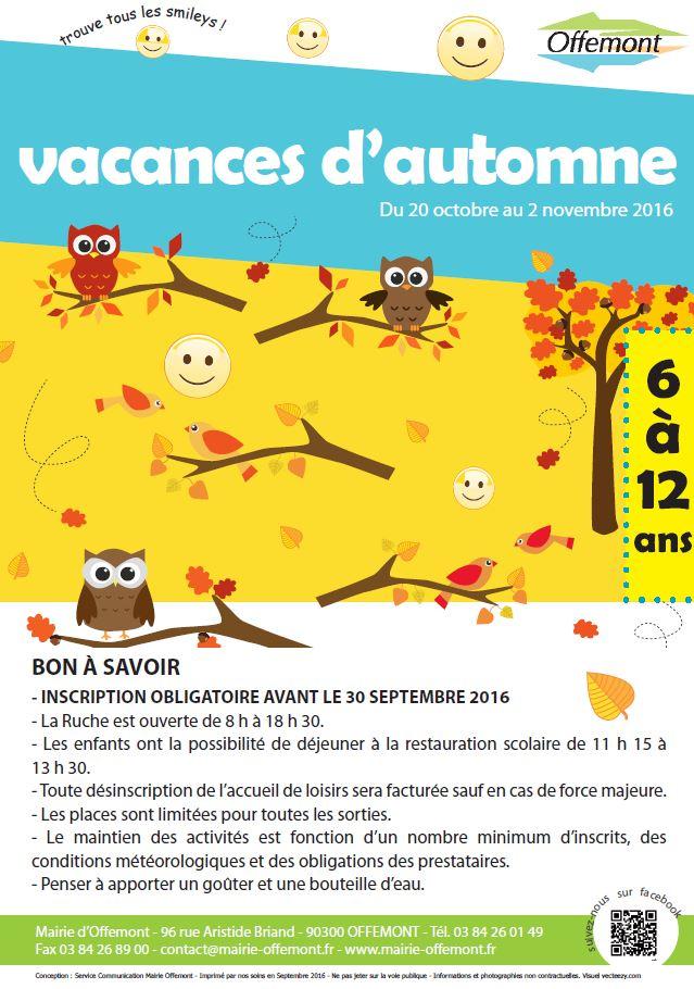 Planning des activit s Vacances automne 2015